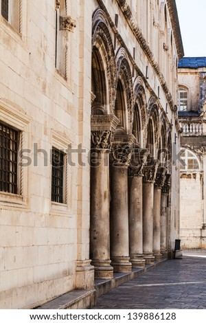 The columns of the Duke's Palace (Knezev dvor) in Dubrovnik, Croatia
