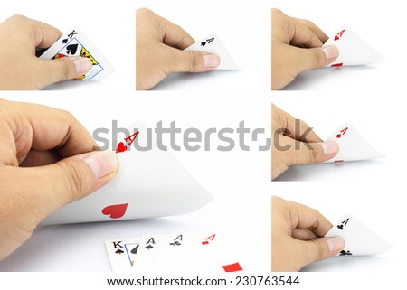 The combination of cards will come as a Four of a kind in poker game on a white background, Focuses on card in the hand. - stock photo