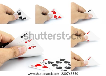 The combination of cards will come as a Full House in poker game on a white background, Focuses on card in the hand. - stock photo