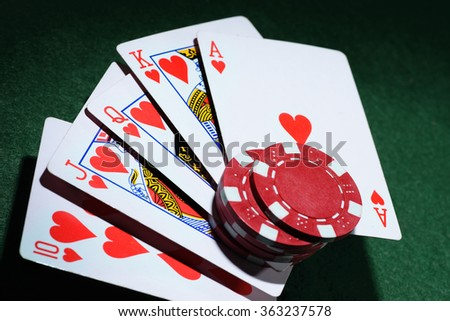 The combination of playing cards poker casino. - stock photo