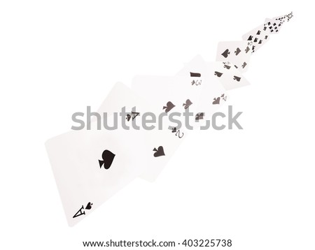 The combination of playing cards. spades .on a white background. - stock photo
