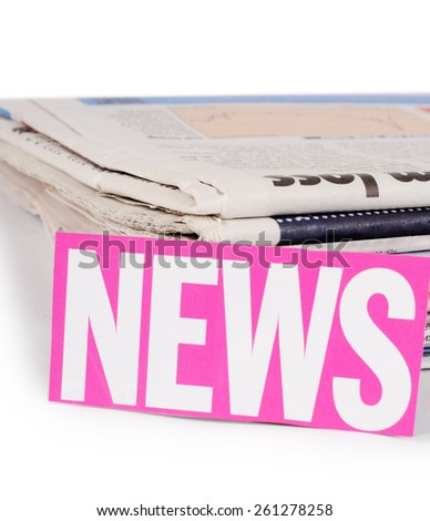 The combined newspapers isolated on white background - stock photo