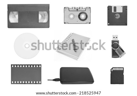 The combo set of world's data storage in black and white