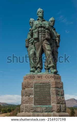 The Commando Memorial is a monument in Scotland, dedicated to the men of the  British Commando Units during World War II. - stock photo