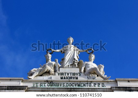 The Commerce Square is located in the city of Lisbon. - stock photo