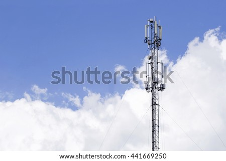 the communication antenna on a sky background