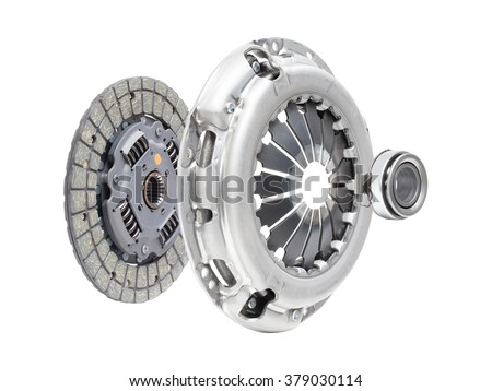 the composition of the elements of car repair kit clutch manual gearbox isolated, on a white background - stock photo