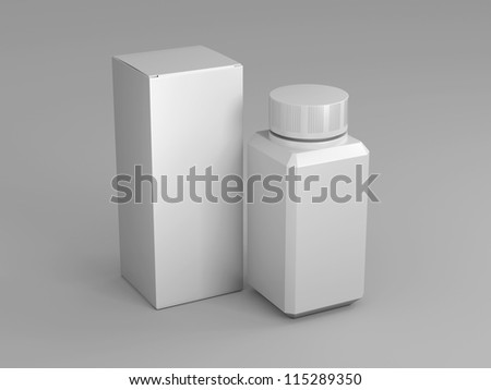 The composition of the two packages standing upright on a white background - stock photo