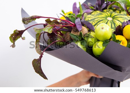 The composition of vegetable bouquet. Concept unusual gift