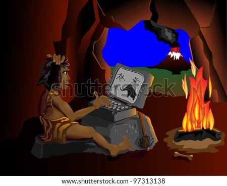 The computer even know cavemen sitting around the fire - stock photo