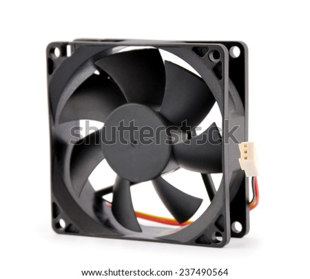 The computer fan isolated on white background - stock photo