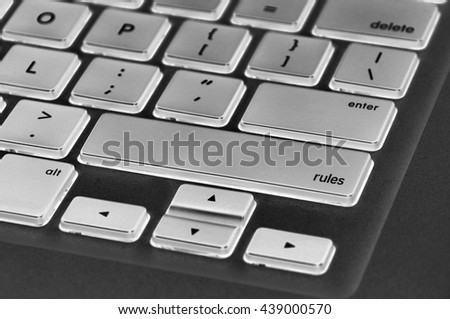 The computer keyboard button written word rules .