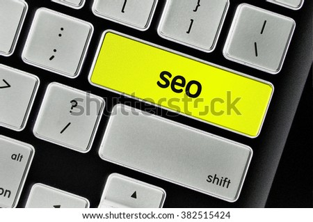 The computer keyboard button written word seo .