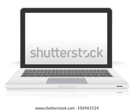 The Computer Notebook With White Screen  Isolated on White Background