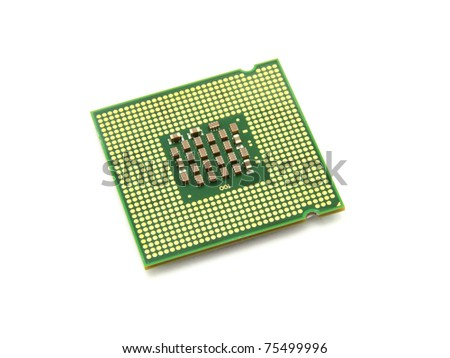 The computer the processor on a white background is isolated gold color with a microcircuit - stock photo