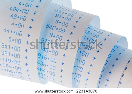 the computing strips of a calculator on a white background. symbol photo for controlling, accounting, taxation and finance - stock photo