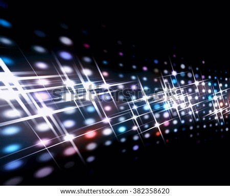 The concave screen of spots of light with divergent beams. - stock photo