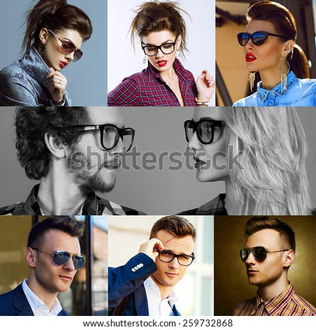 The concept  fashion beauty female and male. Collage of young women and men in glasses wearing in trendy clothes, with make up and accessories. Close up. Studio shot and street shot - stock photo