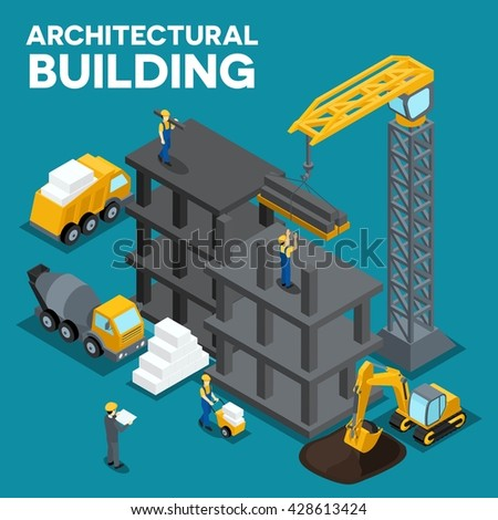 The concept isometric illustration of the construction of a multistory building, digging, heavy machinery, truck, construction workers, people, uniforms, blocks, piles - stock photo