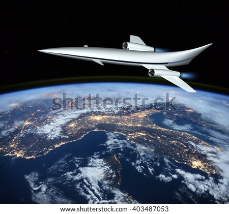 The concept of a futuristic hypersonic passenger aircraft flying in the stratosphere. Space tourism. 3D rendering. Elements of this image furnished by NASA.