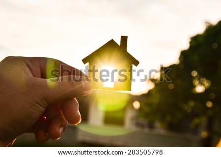 The concept of building houses on sky - stock photo
