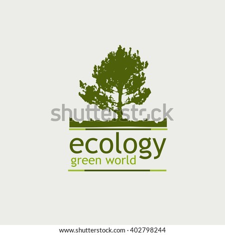 the concept of ecology green world. logo. tree and the inscription on the white background. - stock photo