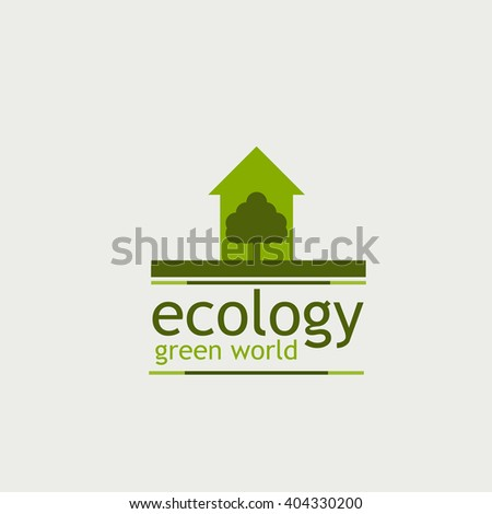 the concept of ecology green world. logo. tree and the inscription on the white background.