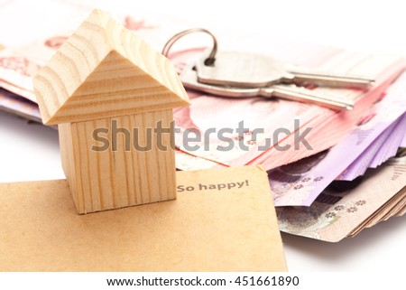 The concept of financial planning to buy a home. Financial tools - stock photo