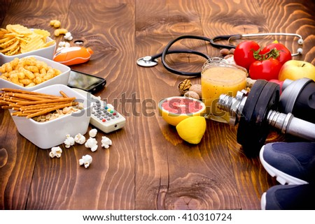The concept of good and bad habits - healthy and unhealthy lifestyle - stock photo