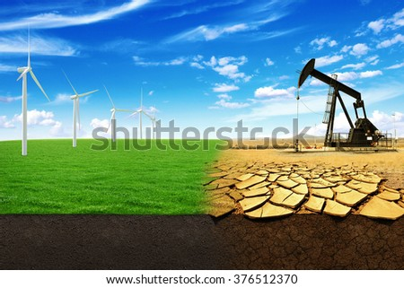 The concept of green energy windmills in a beautiful field. Oil pump in sandy field with cracks. Energy Production leads to the destruction of the world - stock photo