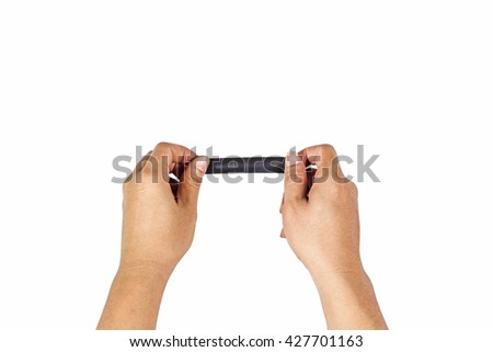 The concept of hands is about to black taped to close on the white background.