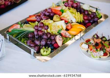 The concept of healthy food, fruit assortment on the tray