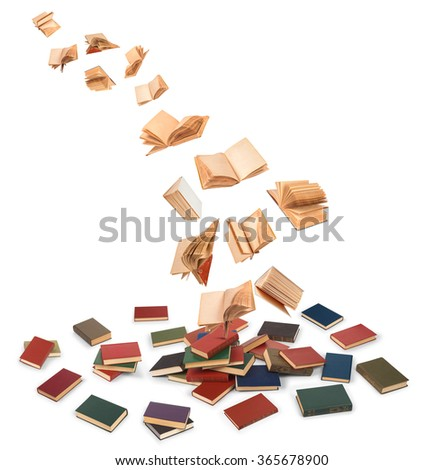 the concept of libraries in the e-book on an isolated white background - stock photo