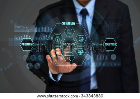 The concept of making corporate decision to solve business problem - stock photo