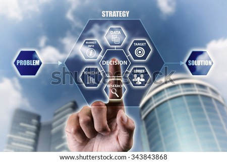 The concept of making corporate decision to solve problem - stock photo