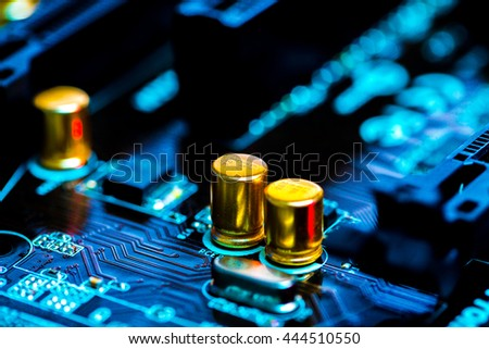 The concept of microelectronics. Detail of printed circuit board - stock photo