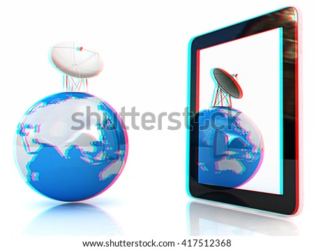 The concept of mobile high-speed Internet and planet earth on a white background. 3D illustration. Anaglyph. View with red/cyan glasses to see in 3D. - stock photo