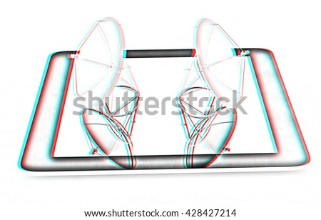 The concept of mobile high-speed Internet on a white background. Pencil drawing. 3D illustration. Anaglyph. View with red/cyan glasses to see in 3D. - stock photo