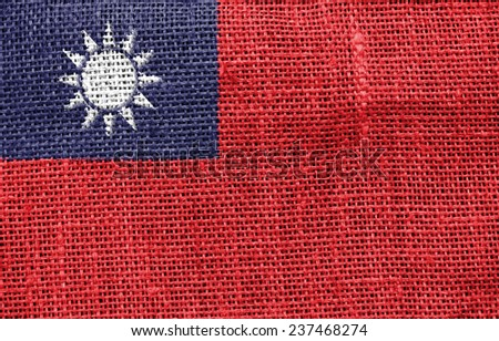 The concept of national flag on canvas background: Taiwan - stock photo