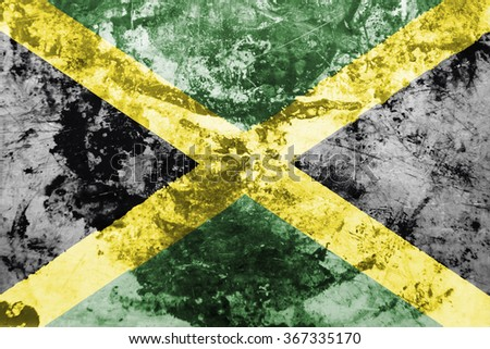 The concept of national flag on grunge oiled metal background: Jamaica - stock photo