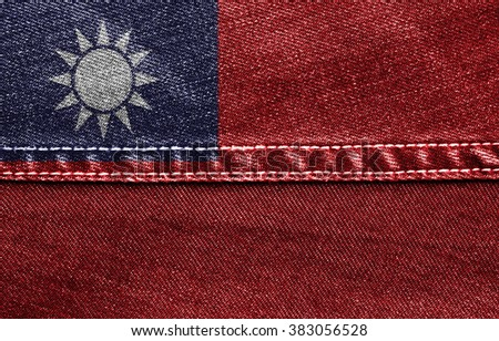 The concept of national flag on jeans denim background: Taiwan - stock photo