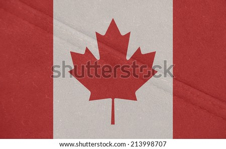 The concept of national flag on leather background: Canada