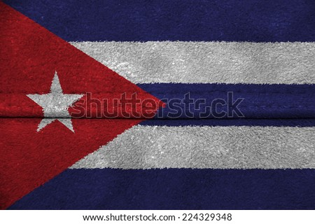 The concept of national flag on leather background: Cuba - stock photo