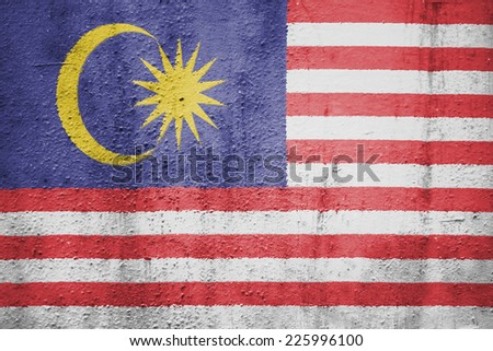 The concept of national flag on metal background: Malaysia - stock photo