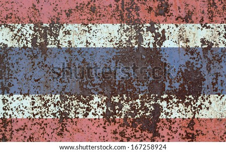 The concept of national flag on old rusty background: Thailand - stock photo