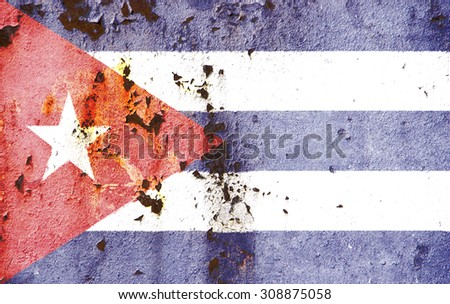 The concept of national flag on old rusty metal background: Cuba