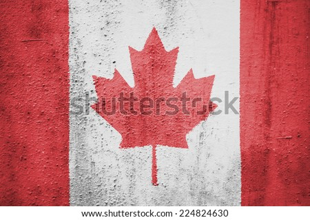 The concept of national flag on rusty metal background: Canada - stock photo
