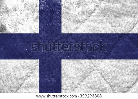 The concept of national flag on stitched canvas background: Finland - stock photo