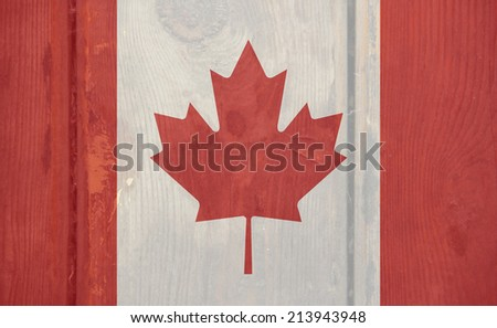 The concept of national flag on wooden plank texture: Canada