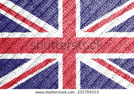 The concept of national flag on wool background: UK